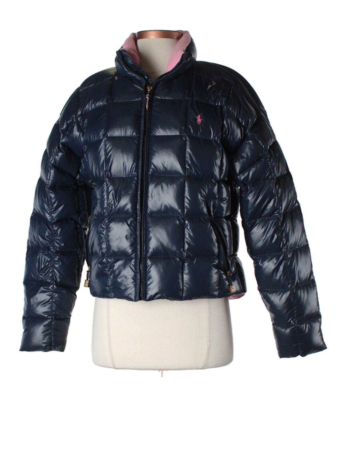 Women Ralph Lauren Sport Navy bluee Pink Shiny Puffer Down Winter Coat Size XS