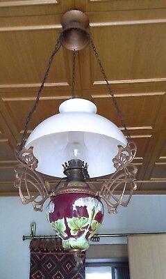 WunderschöNen Majolika - Deckenhängelampe - Petroleumlampe - Ca 19.j