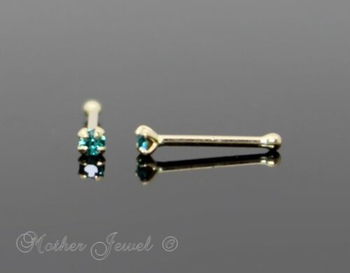 22G GENUINE REAL SOLID 9K YELLOW GOLD 1.5MM BLUE ZIRCON BALL END NOSE RING STUD