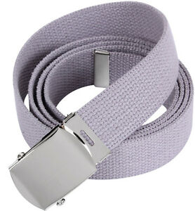 Image is loading Grey-Military-Cotton-Web-Belt-with-Chrome-Buckle c9f79875674