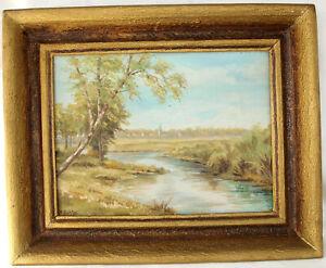 Pinturas petróleo imagen paisaje río aldea lienzo de oro marco firmado H. juez 58