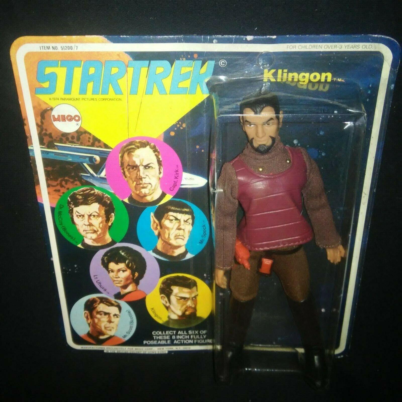 1974 Klingon-Vintage 8  MEGO Juguete Figura De Acción De Estrella Trek en tarjeta ENLOMADOR