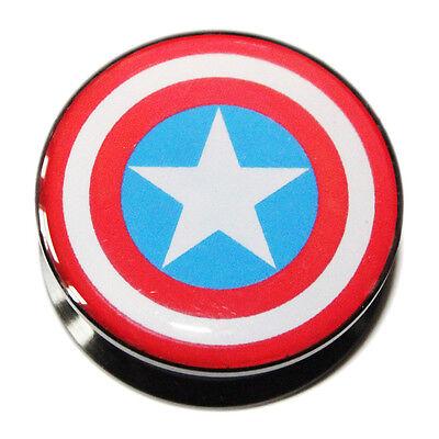 "Captain America Shield PMMA Acrylic Screw-Fit Ear Plug Flesh Tunnel 3mm-25mm 1"""