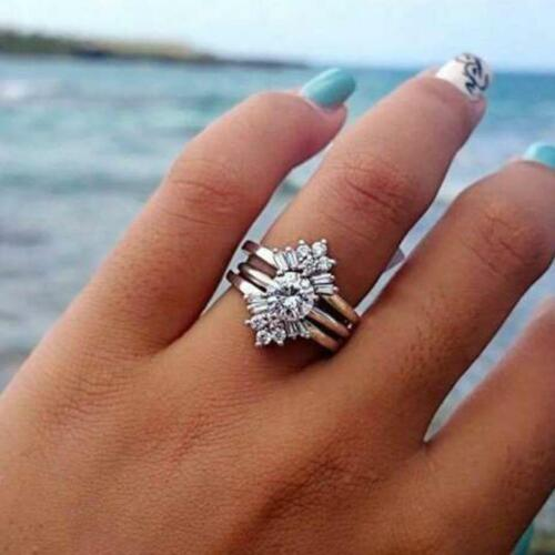 Fashion 925 Silver Filled Wedding Rings for Women White Sapphire