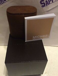 Michael-Kors-Empty-Watch-Box-with-official-MK-Booklet-Dark-Brown-BRAND-NEW