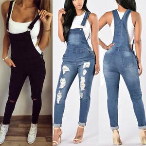 Damen Jeans Hose Skinny Latzhose Overall Jumpsuit Hüftjeans Röhrenjeans Lang