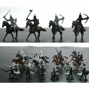 Medieval-Knights-Warriors-Horses-Soldiers-Figures-Model-Playset-Plastic-Kids-Toy