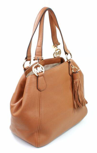 Michael Kors Leather Fulton Grab Shoulder Bag Tan Acorn Large Handbag Rrp 330