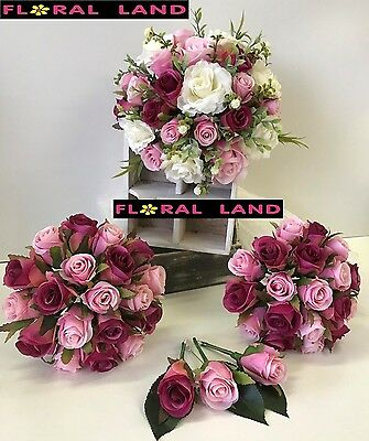 Silk Wedding Bouquets Light Pink Roses