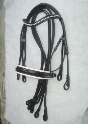 Mono Crown Headpiece with pairs of leather reins Horse Double Bridle