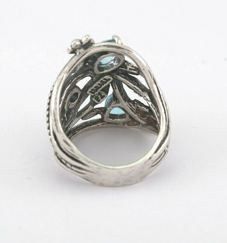 Ou Paz Argent Sterling 925 Blue /& London Blue Topaz Ring Made in Israel