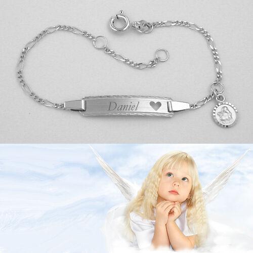 Baby Taufe Weiß Gold 333 Schutzengel Herz Ident Armband mit Gravur Name Datum