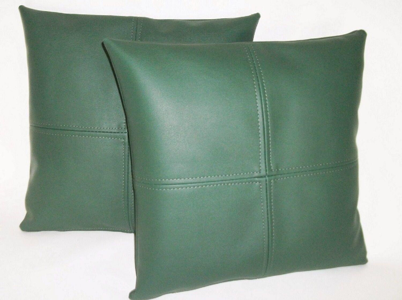 2 crochet vert vert vert en cuir synthétique Coussins 16