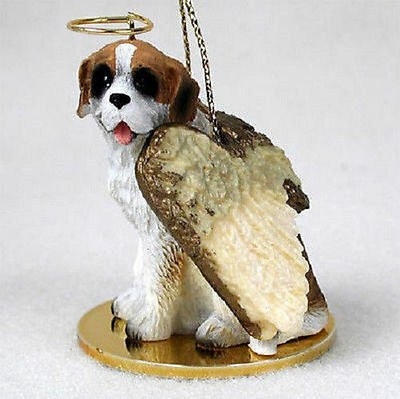 Saint Bernard Dog Figurine Angel Statue Rough