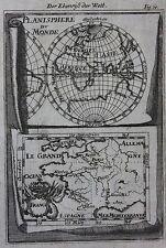 ORIGINALE ANTICO MAPPA PLANISFERO DU MONDE, Francia, Alain MANESSON MALLET c.1686
