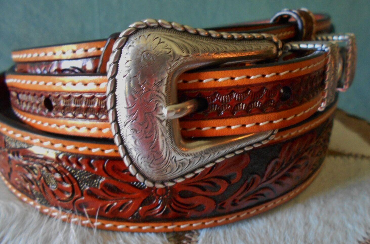 Cinturón de cuero occidental Fileteado Reiner Unisex Ranger Diseño 1 3 8 Rodeo Cinturón