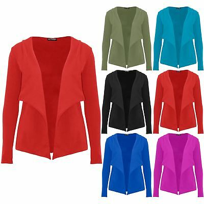 Womens Crepe Slim Fit Buttons Ladies Laser Cut Sleeve Cardigan Blazer Crop Coat