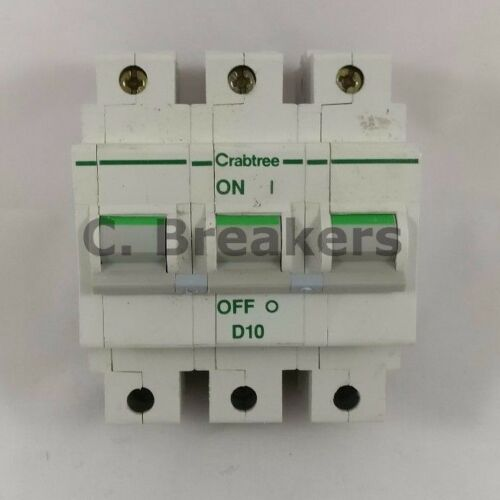 Crabtree Polestar 10A Amp Type D D10 Triple Pole 3 Phase MCB Breaker 63D10