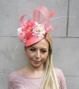 4a9dcc7d09234 Image is loading Peach-Coral-Salmon-Cream-Flower-Feather-Hat-Fascinator-