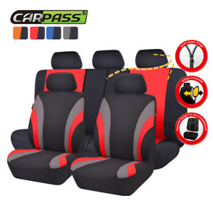 Universal-Car-Seat-Covers-Truck-SUV-Car-Seat-Cover-Set-Black-Red-for-Holden-Ford