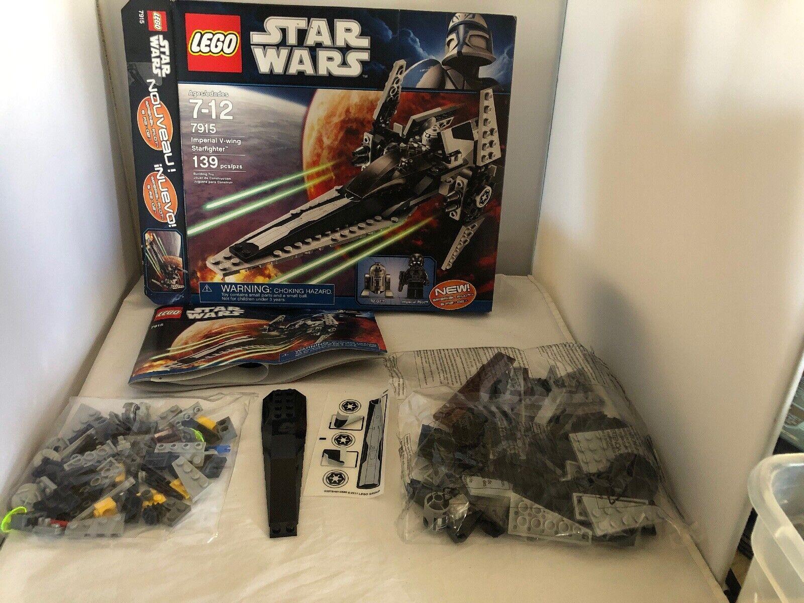 Lego stjärnornas krig kejserlig V -ving stjärnafighter 7915 R2 D2 ImpERIAL PILOT Minifigurer