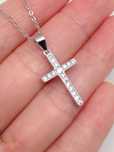 """Sterling Silver 925 Cz Cross Pendant Necklace Womens 20mm 19/"""""""