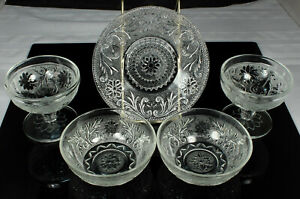 LOT-of-SANDWICH-GLASS-Dishes-5pcs-Indiana-Hocking-2-SHERBETS-UNDER-PLATE-2-BOWLS