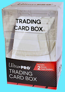 ULTRA-PRO-100-TRADING-CARD-STORAGE-BOX-w-2-DIVIDERS-Sports-Clear-Case-Sleeved
