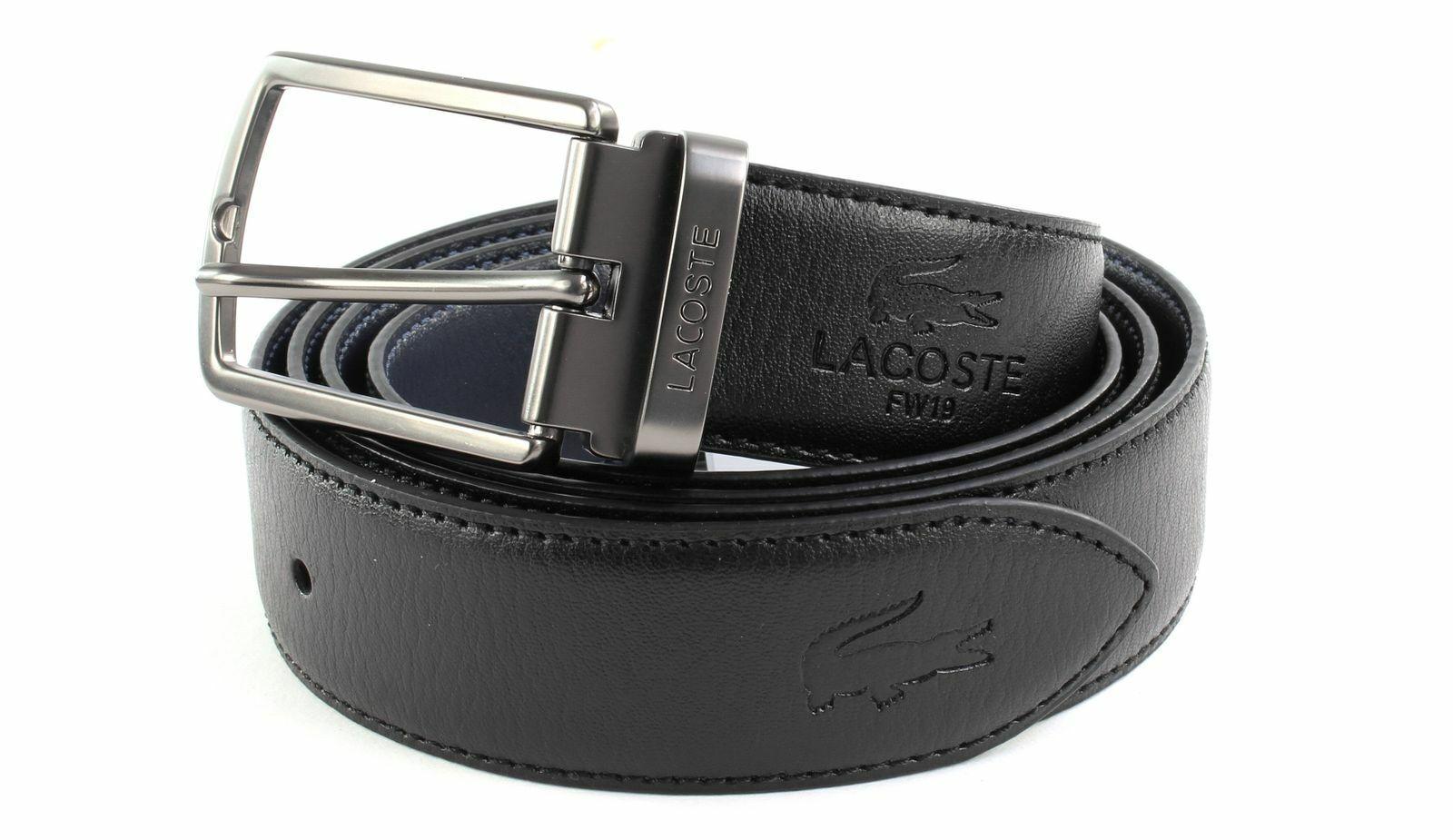 LACOSTE Men´s Elegance Reversible Belt W100 Gürtel Black Peacoat Schwarz Blau