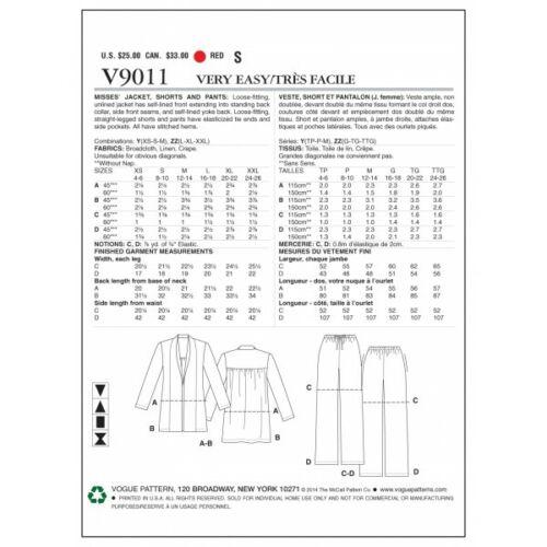 Vogue sewing pattern V9011 Femme Veste Short et Pantalon