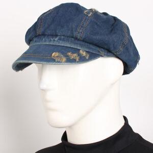 513434349 Details about NW Vintage Denim Applejack SK Hat 8 Panel Jean Gatsby Unisex  Newsboy Driving Cap