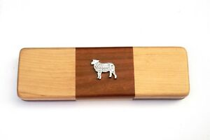 Butcher Sheep Chequered Wooden Pen Set Black Ball Point Pens Farming Gift Fc6m4uvl-08012853-807305442