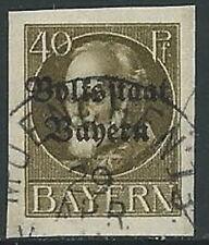 1919 GERMANIA ANTICHI STATI BAVIERA USATO SOPRASTAMPATO 40 P - G41