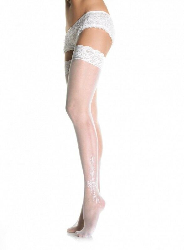 Leg Avenue White Sheer Lace Top Stockings with Woven Bows & Floral Pattern