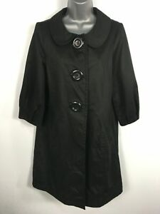 WOMENS-ATMOSPHERE-BLACK-COTTON-LARGE-BUTTON-UP-3-4-SLEEVE-LIGHTWEIGHT-COAT-UK-10