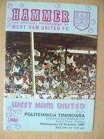 1980 European Cup Winner Cup 2nd RD 1st Leg-WEST HAM UTD v POLITEHNICA TIMISOARA