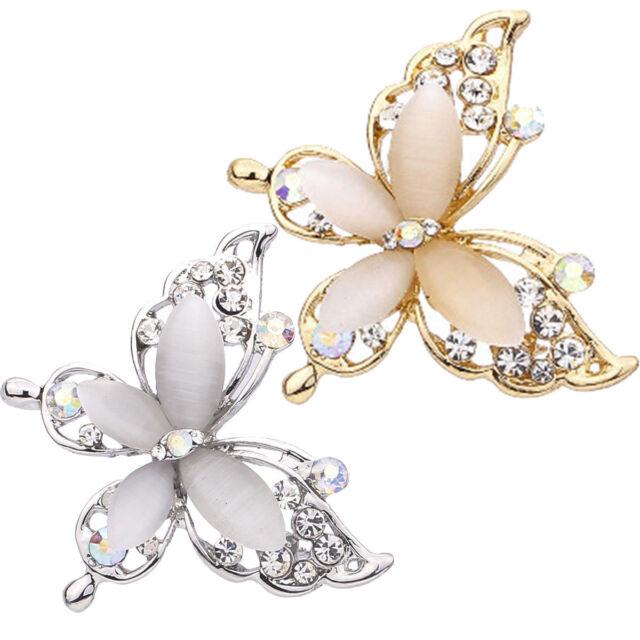 Mode Frauen Schmuck Schmetterling Gold/Silber Kristall Strass Pin