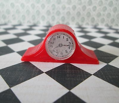 Renwal RED MANTLE CLOCK Vintage Miniature Dollhouse Furniture Hard Plastic