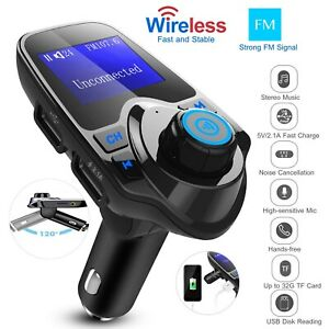 Car-FM-Transmitter-Mp3-Player-Radio-Adapter-HandsFree-Dual-USB-Charger-AUX-In