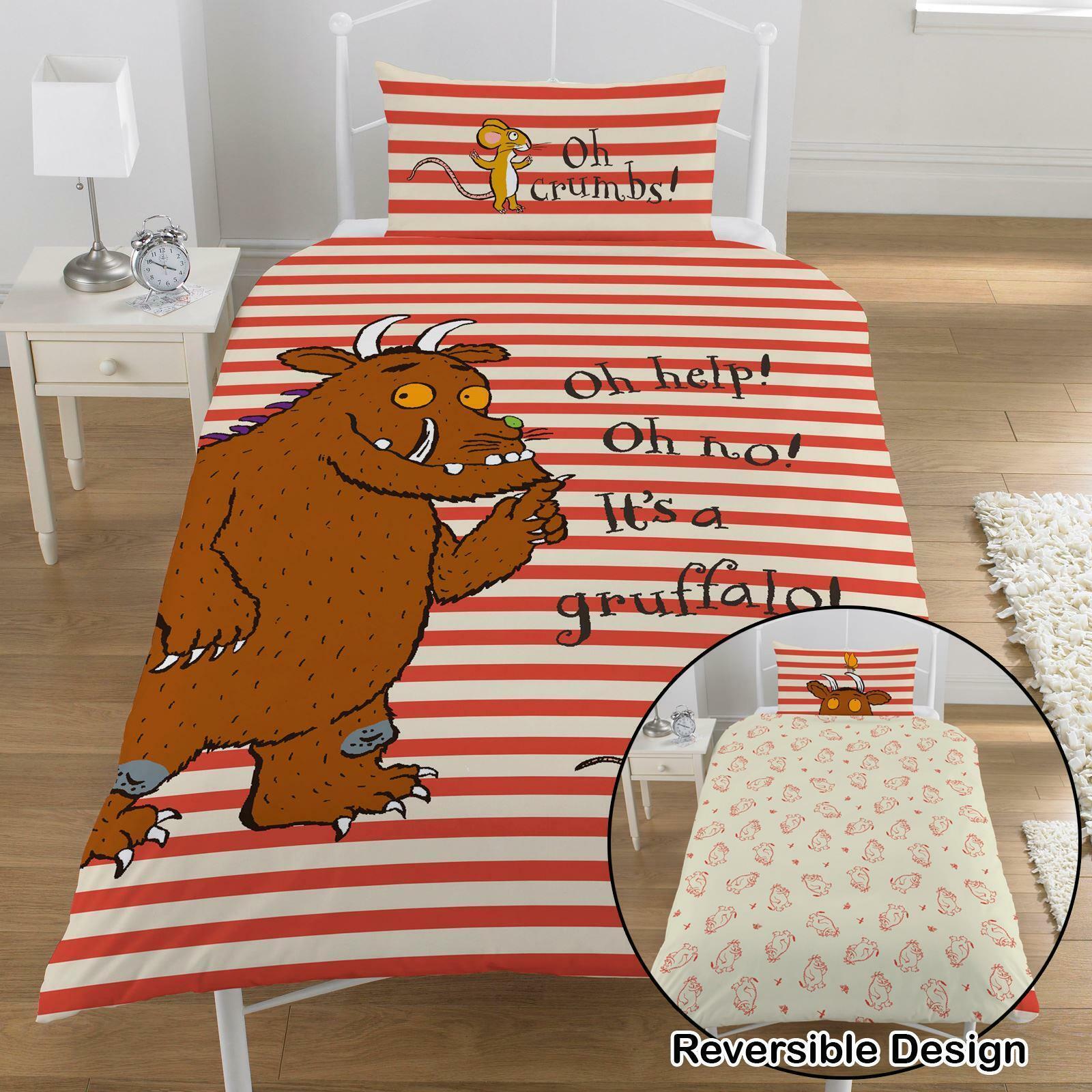 Gruffalo Oh Help Einzelbettbezug Set 100% Baumwolle Kinder Orange Wendbar