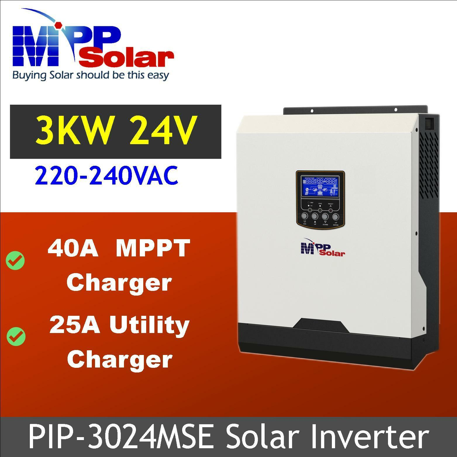 (MSE) 230vac 24v  3000w Solar inverter  + 40A MPPT charger + 25A battery charger