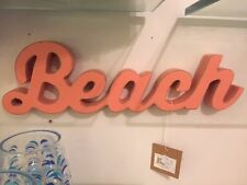 NWT Wooden Table Top or Wall Coral BEACH Letter Word Beach Decor