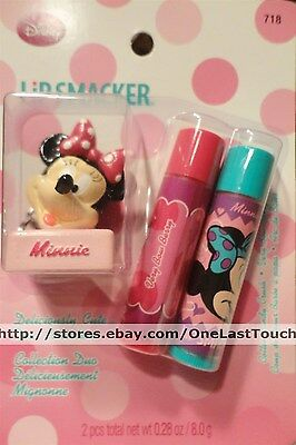 LIP SMACKER 3pc Set MINNIE MOUSE Balm/Gloss+Keychain Topper DELICIOUSLY CUTE New