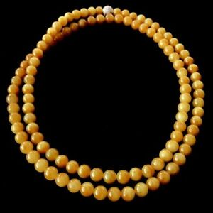 【KOOJADE】 Icy Emerald Yellow Jadeite Beads necklace《108》《GradeA》