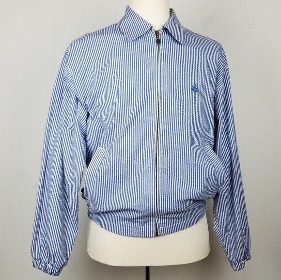 Brooks brothers seersucker material Blau stripe down jacket Größe small