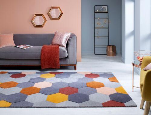 Moderno Munro Rust Orange Multi Geometric Hand Carved Wool Rug various sizes