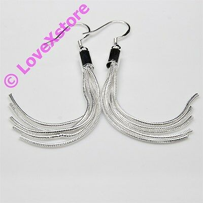 925 Sterling Silver Plated Long Snake Tail Earring Dangle Earrings Free Shipping