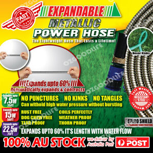 Expandable-metallic-Stainless-Steel-power-hose-Garden-Car-Wash-As-Seen-On-TV