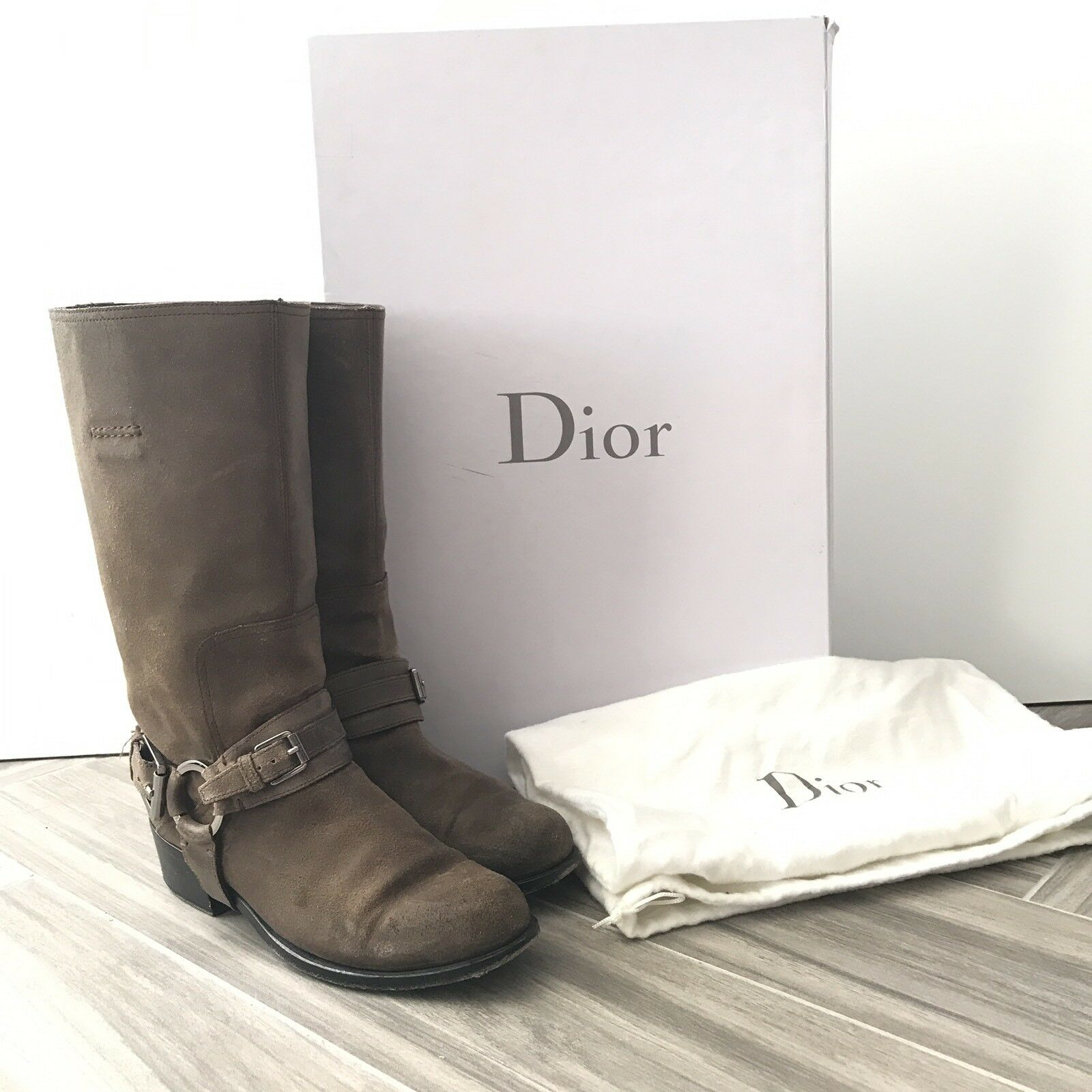 Dior Womens Taupe Motorcycle Short Boots 36.5 Suede Calf High Pull On,  1050