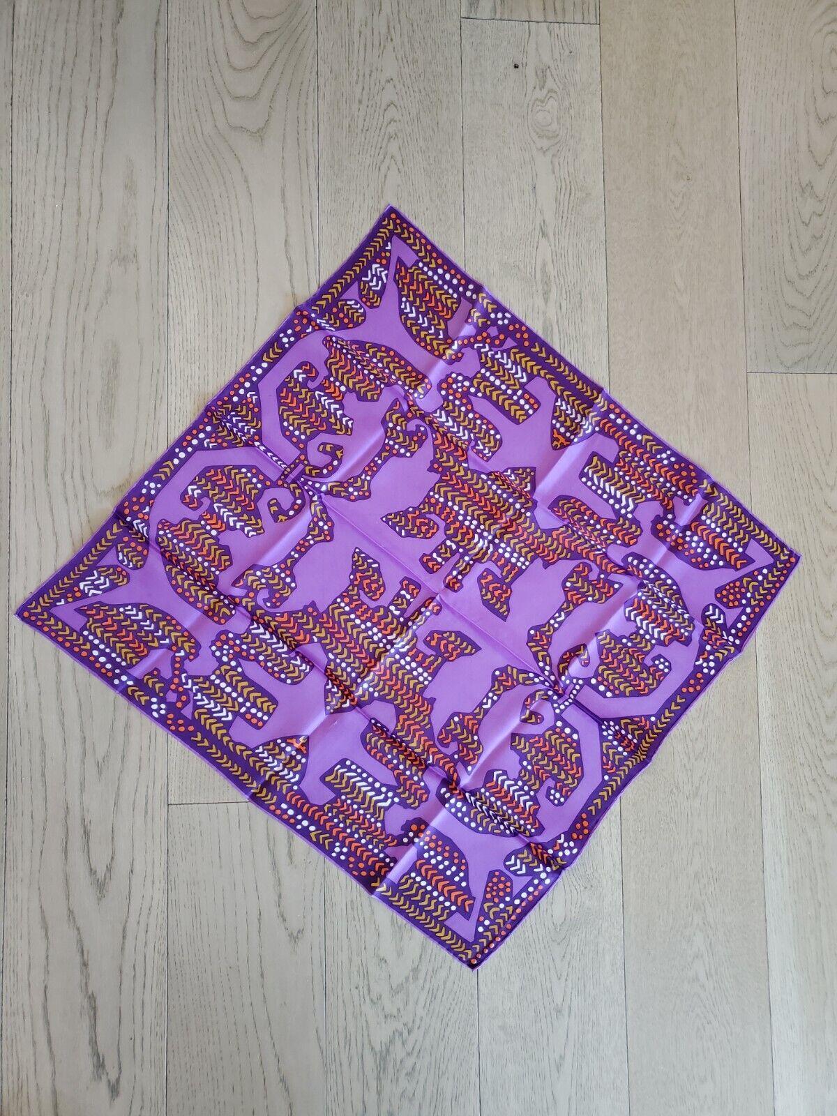 VTG Rayon, Silk Retro Mod MCM Tribal Scarf Japan Purple Orange Mustard White